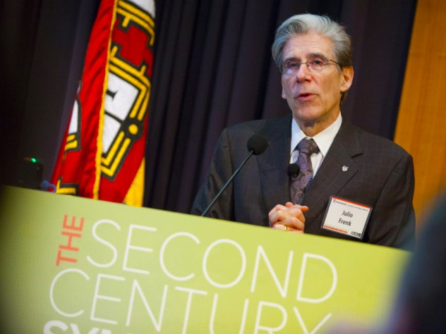 Harvard School of Public Health dean Julio Frenk addresses public-health researchers and educators at <i>The Second Century Symposium.</i>