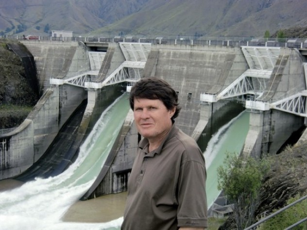 Briscoe at Lake Benmore, site of New Zealand's largest earthfill dam