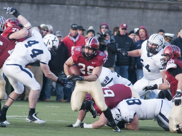 Despite an up-and-down day (two fumbles), running back Paul Stanton Jr. '16 (number 29) led the Crimson with 109 yards rushing—20 of which came on the final drive. A notable blocker was 2013's leading receiver Ricky Zorn '14-'15 (number 5), who had missed the entire 2014 season but made it back for The Game.