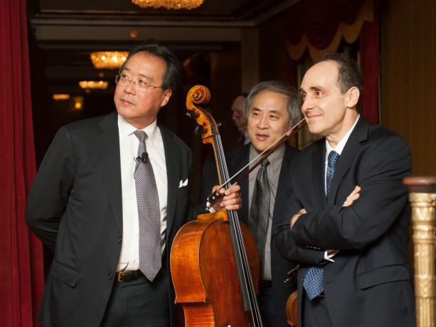 "The ""Harvard Trio"": Yo-Yo Ma '76, D.Mus. '91, Lynn Chang '75, and Richard Kogan '77, M.D. '81"