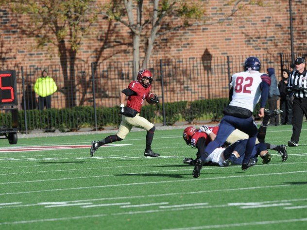 Recovered from injury, Andrew Fischer (1) returned to action with three catches and a scintillating 33-yard punt return.