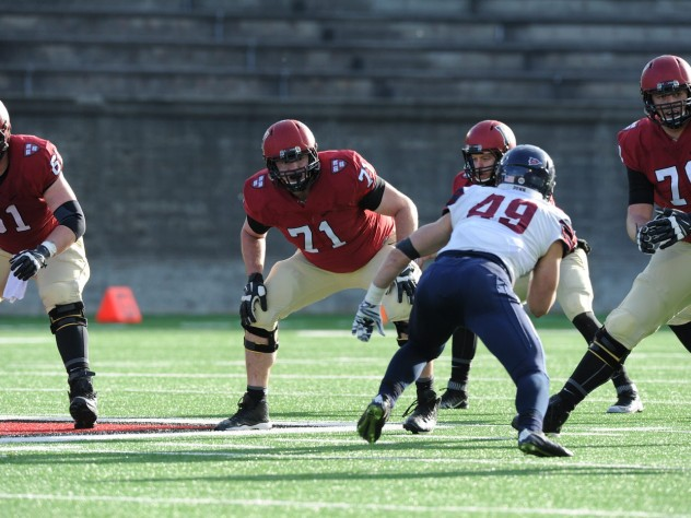 Penn linebacker Tyler Drake (49) menaced the Crimson with a game-high 12 tackles. Harvard was held scoreless in the second half for the first time in nine years.