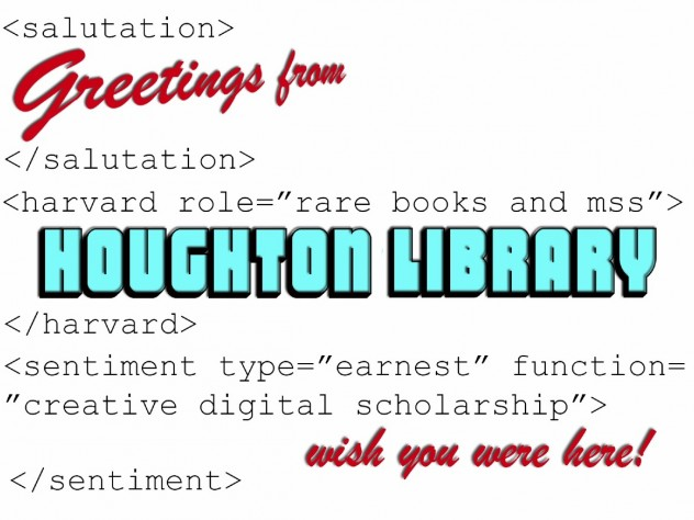 A Houghton Library postcard designed to attract undergraduates in computer science to its resources