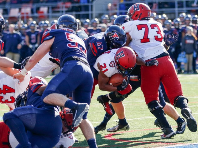 403b62c1e97 Last lunge: With senior right guard Larry Allen Jr. (73) keeping Penn  defenders at bay, Harvard senior back Charlie Booker nudges the ball over  the goal ...