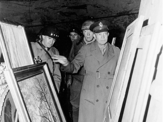 Generals Bradley, Patton, and Eisenhower inspected some of the art stored in the mine complex on April 12.