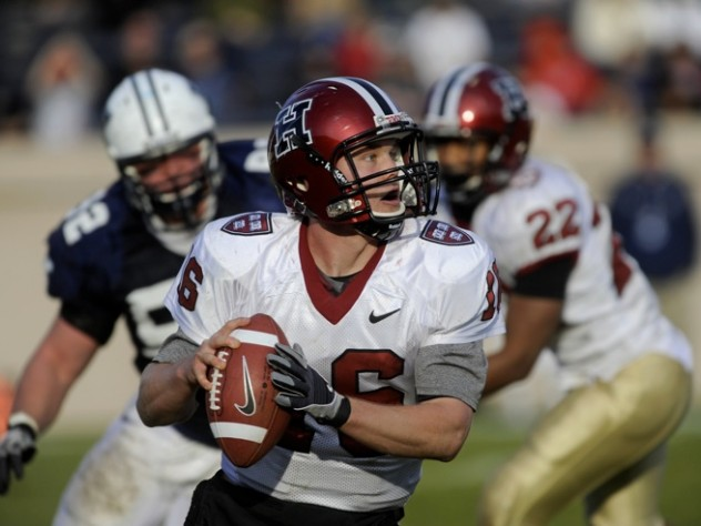 Aerial attack: Quarterback Collier Winters threw two late scoring passes to pull out a 14-10 victory at Yale Bowl.
