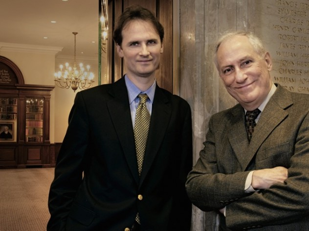 Outside the Caspersen Room at the Harvard Law School Library: Ess Librarian and professor of law John G. Palfrey VII with University Library director and Pforzheimer University Professor Robert Darnton.