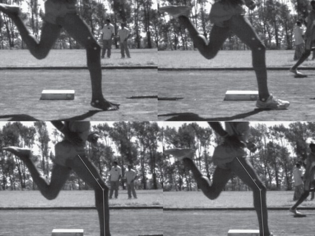 Top: An elite Kenyan athlete who grew up running barefoot strikes the ground with the forefoot when unshod, but with the midfoot when wearing shoes. Bottom: The positioning of legs and feet is identical in both cases; the shoes alone affect how the runner's foot strikes the ground.