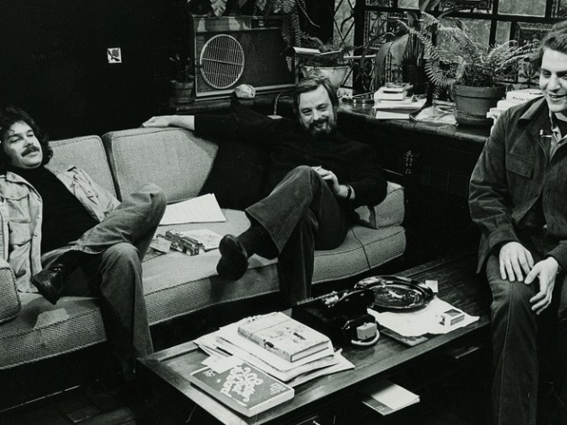 Weidman, Stephen Sondheim, and Frank Rich '71 (at right) meet for a 1976 television interview in Sondheim's study.