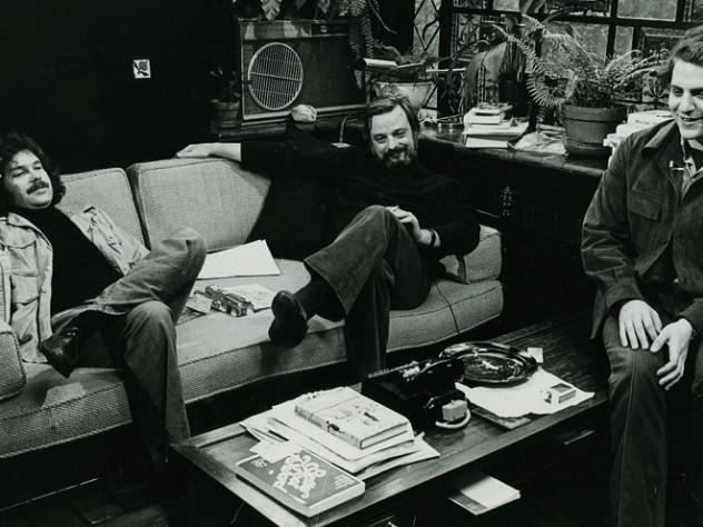 Weidman, Stephen Sondheim, and Frank Rich '71 (at right) meet for a 1976 television interview in Sondheim's study.