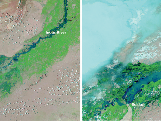 Satellite imagery from NASA shows the devastating extent of flooding in Pakistan in 2010. The Indus (dark blue) was well within its banks on July 18 (left), dwindling almost to nothing as it meandered south. But by August 8 (right), it had swelled with monsoon rain so that vast areas of the river valley were flooded.