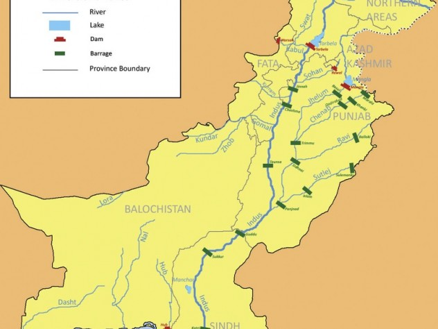 Pakistan has just one major river, the Indus, on which there is just one dam, Tarbela, in the northern part of the country.