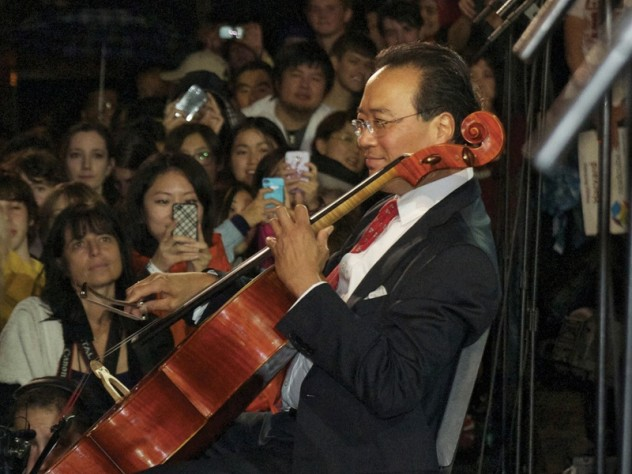 """Yo-Yo Ma performed the Prelude from Bach's Cello Suite No. 1 before joining President Faust in leading a rendition of """"Happy Birthday."""""""