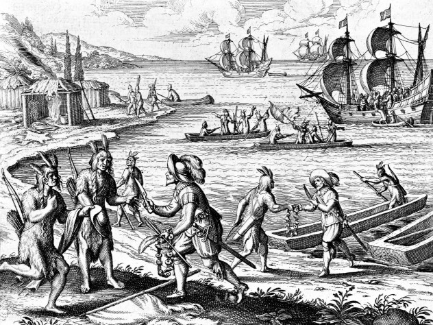 Both sides now: mutually beneficial trade between Native Americans and English people. From Theodor de Bry's <i>America</i> series, 1634.