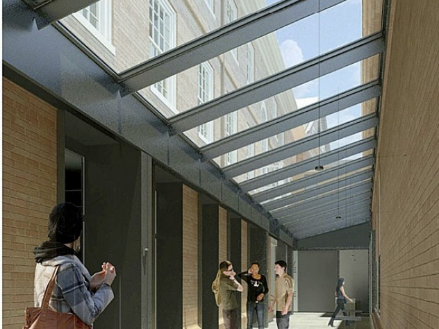 """House renewal under way: rendering of the """"light court"""" beside Leverett House'sdining hall"""
