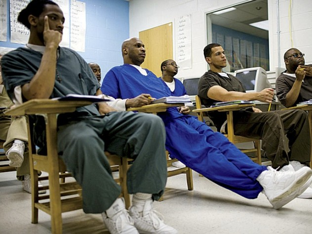 Inmates participating in an entrepreneurship program run by Venturing Out Inc.