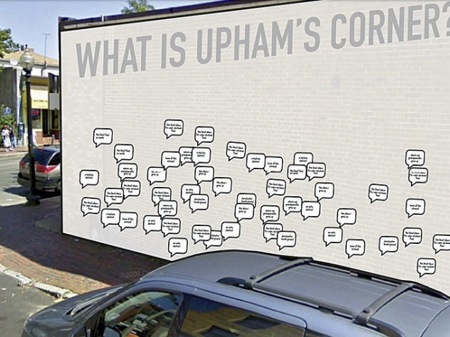 Students Sneha Khullar, Laura O'Connor, Billy Pope, and Salmaan Khansuggested using a central location as the site for a blank canvas hosting stickers filled in by community residents, as a way to spark a dialogue about the identity of Upham's Corner.