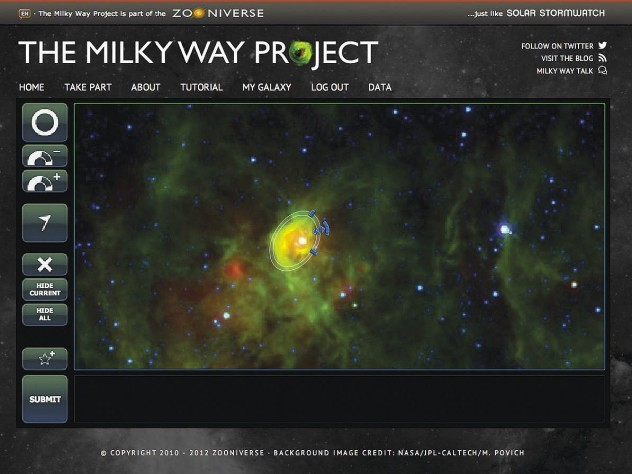 """As part of the Milky Way Project, hosted by citizen-science platform Zooniverse, participants draw ellipses to identify interstellar """"bubbles"""" in telescope images; the regions are thought to promote star formation."""