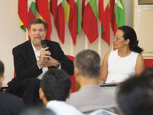 Kennedy School dean David Ellwood and Debbie Taylor at a Myanmar Peace Center forum in Yangon last October