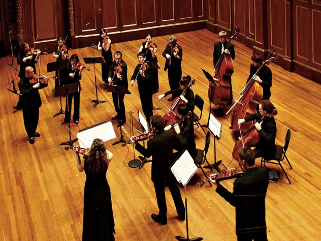 A Far Cry in performance at Jordan Hall, at the New England Conservatory.