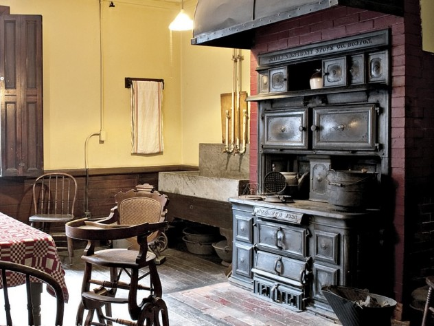 Cooking in the house ended in the mid 1930s; the kitchen, with its soapstone sink and 1884 cast-iron oven, manufactured by Smith & Anthony Stove Co., Boston, is especially well preserved.
