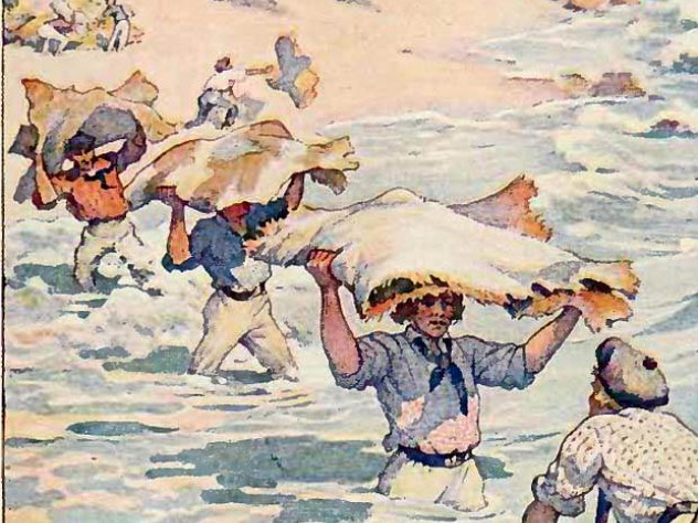 "An image of the California hide trade used to illustrate a 1911 edition of his classic work, ""Two Years Before the Mast"""
