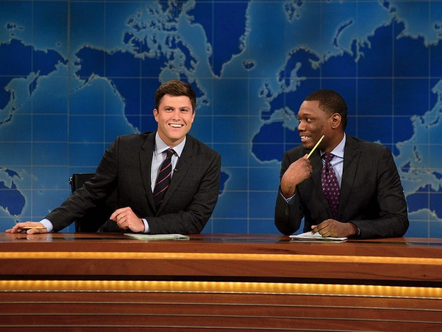 Colin Jost Left With His Co Host Michael Che At The Weekend Update Desk For Saay Night Live