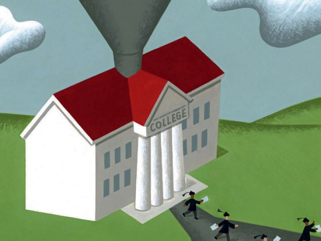 "An illustration showing money being deposited via funnel into a columned building labeled ""college"""
