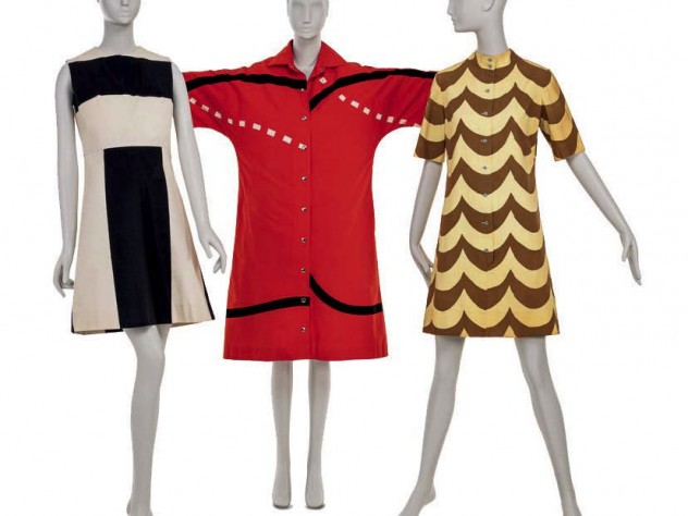 Modern shifts in black and white, red and black, and yellow and brown with geometric patterns