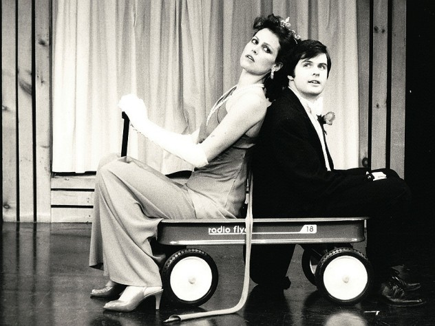 Sigourney Weaver and Durang in their 1979-80 Brecht-Weill cabaret act, <em>Das Lusitania Songspiel</em>. They entered in a red wagon, parodying the opening of the Brecht-Weill opera <em>The Rise and Fall of the City of Mahagonny,</em> in which American capitalists enter in a wagon on a search for gold.