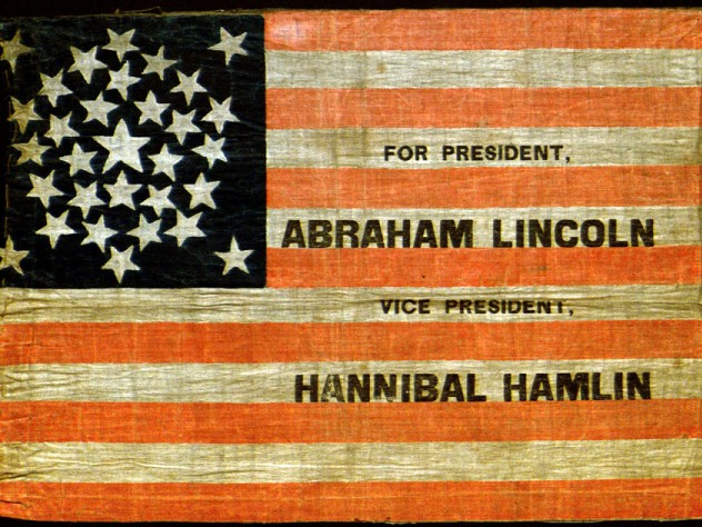 Flags such as this one, advertising Lincoln's first campaign for president, were given to Lincoln supporters at political rallies.