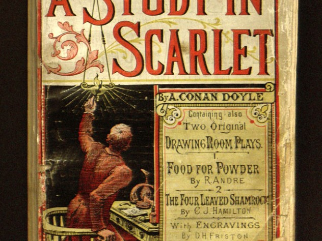 """The cover of <em>Beeton's Christmas Annual,</em> a periodical which included the first publication of Doyle's """"A Study in Scarlet,"""" taken from Houghton's collection. With only about 30 copies still in existence, the magazine is considered rarer than Gutenberg Bibles."""