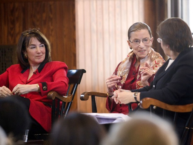 U.S. district judge Nancy Gertner (left) listens as Linda Greenhouse '68, formerly the Supreme Court reporter for the New York Times, questions Supreme Court Justice Ruth Bader Ginsburg.