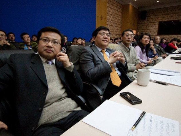 Kleinman is a psychiatrist, and his audience included both anthropology graduate students and medical students in addition to faculty members. In this image, the scholar second from left is Pan Tianshu, Ph.D. '02, one of Kleinman's former students, now an associate professor of cultural anthropology, who hosted the event.