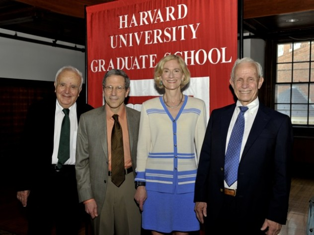 The Graduate School of Arts and Sciences awarded Centennial Medals to (from left) Stephen Fischer-Galati, Eric Maskin, Martha Nussbaum, and David Bevington.