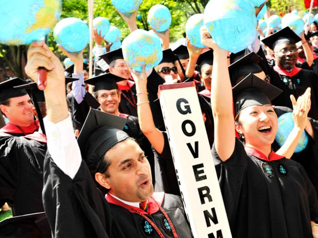 Jubilation among new graduates of the Harvard Kennedy School after the conferral of their degrees