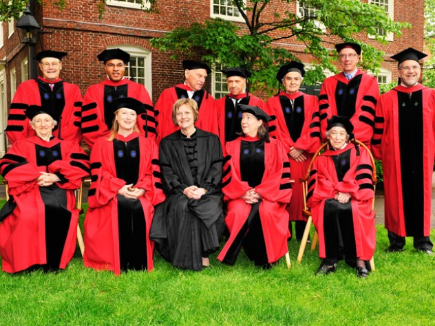 President Drew Faust and Provost Steven Hyman with the 2010 honorary degree recipients. Back row, from left to right: David Nathan, Freeman Hrabowski, Richard Serra, David Souter, Thomas Nagel, Thomas Cech, and Hyman. Front row, from left to right: Onora O'Neill, Meryl Streep, Faust, Susan Lindquist, and Renée Fox.