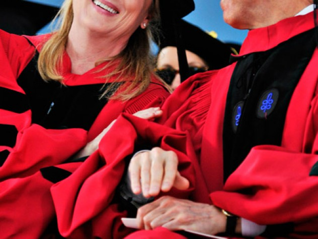 Actress Meryl Streep chats with Justice Souter during the morning exercises, at which both received honorary degrees.