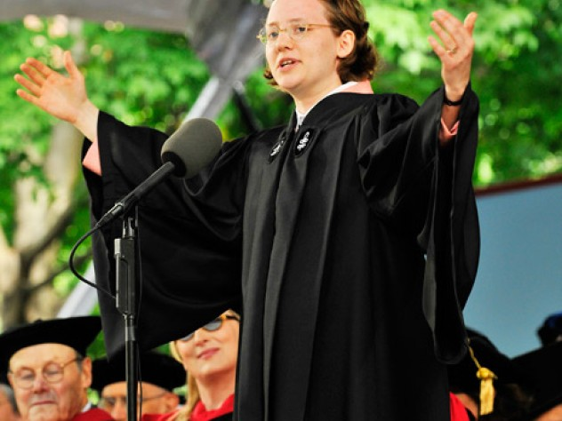 Mary Anne Marks '10 delivers the Latin Oration.