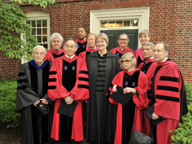 President Faust with this year's honorary degree recipients. From left to right: Sidney Verba, Pedro Almodóvar, Steven Chu, Wynton Marsalis, Ronald Dworkin, Faust, Wendy Doniger, Joan Didion, Sarah Blaffer Hrdy, Anthony Fauci, and Robert Langer