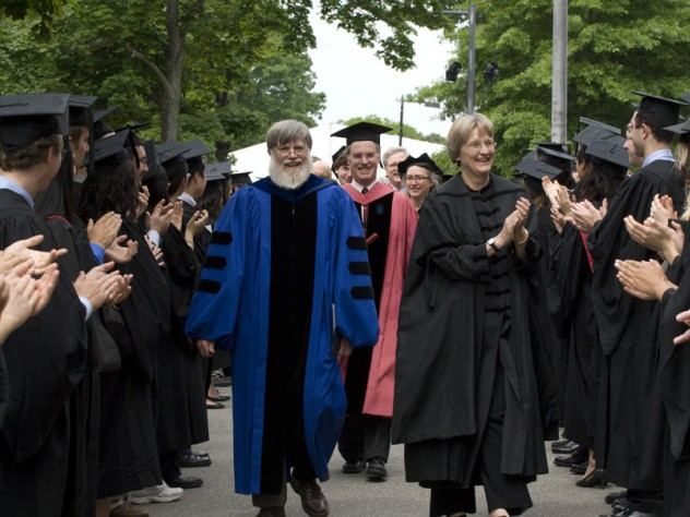 President Drew Faust and Mallinckrodt professor of physics Howard Georgi, president of Harvard College's Phi Beta Kappa chapter, lead dignitaries into Sanders Theatre for the literary exercises as the undergraduate members of the chapter applaud. This year's orator, Gurney professor of English literature and professor of comparative literature James Engell, marches just behind Faust and Georgi.