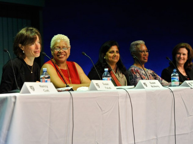 During the panel: Susan Faludi, Susan McHenry, Priyamvada Natarajan, Nell Irvin Painter, Diana Scott
