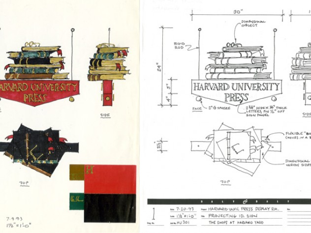 The 1993 drawings for the display room's new signage