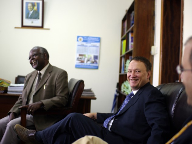 David Bangsberg (center) meets with Frederick Kayanja, vice chancellor of Mbarara University of Science and Technology (MUST) in Mbarara,Uganda, in Kayanja's office.