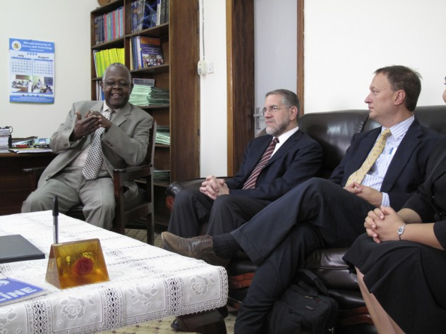 Harvard University provost Steven E. Hyman visited Uganda in August 2009 to learn about the partnership between Harvard and MUST. Here, Hyman (center) meets with Bangsberg (right) and vice chancellor Kayanja (left).