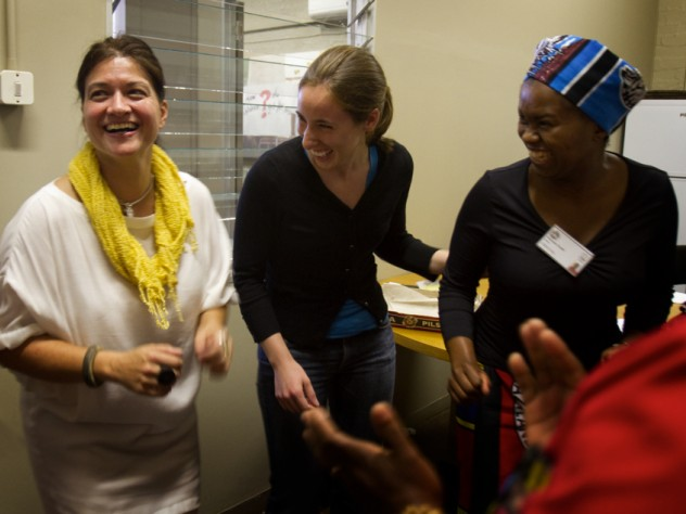 Dong with Ragon Institute project assistant Zoe Rogers and traditional healer Makhosi Zondi