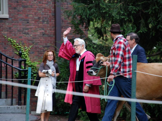 Cox leads the way as the festivities shift from the Yard to the Divinity School. For more images, visit the Harvard Divinity School website.