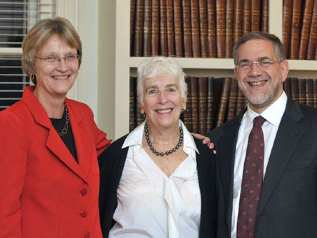 "President Drew Faust, Emily Rauh Pulitzer, and Provost Steven Hyman. Images of selected gifts are below. For a complete list, <a href=""http://harvardmag.com/media/art_pulitzer.pdf"" target=""_blank"">view pdf</a>."