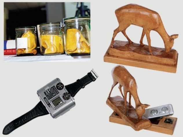 jars containing dust cloths used to capture the body scent of people the Stasi was trying to track; a deer statuette with a camera hidden inside; a Swiss-made Tessina 35-mm miniature camera.