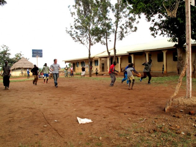 Playing basketball on the orphanage grounds